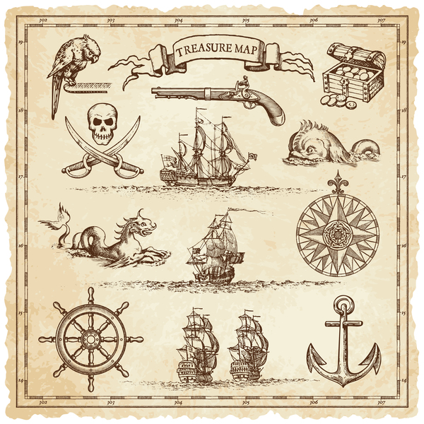 Explore tresaure map with pirate elements vector 04