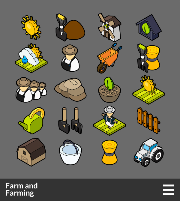 Farm and Farming   isometric outline color icons