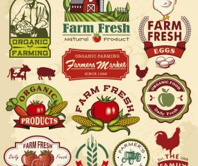 Farm food vintage labels vector