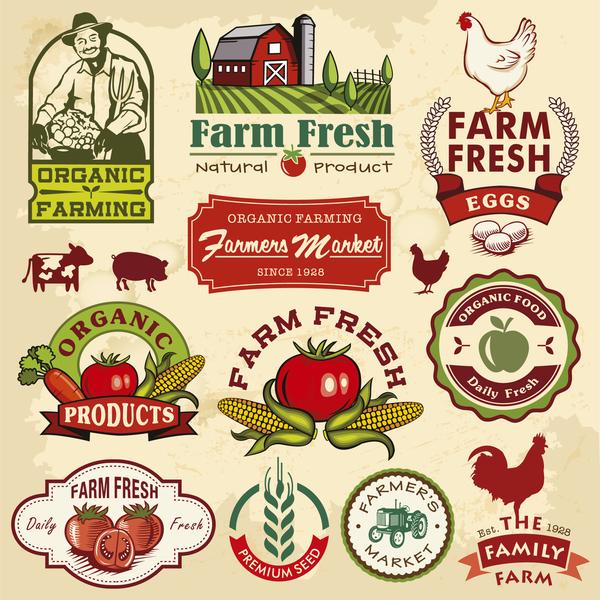 Farm food vintage labels vector