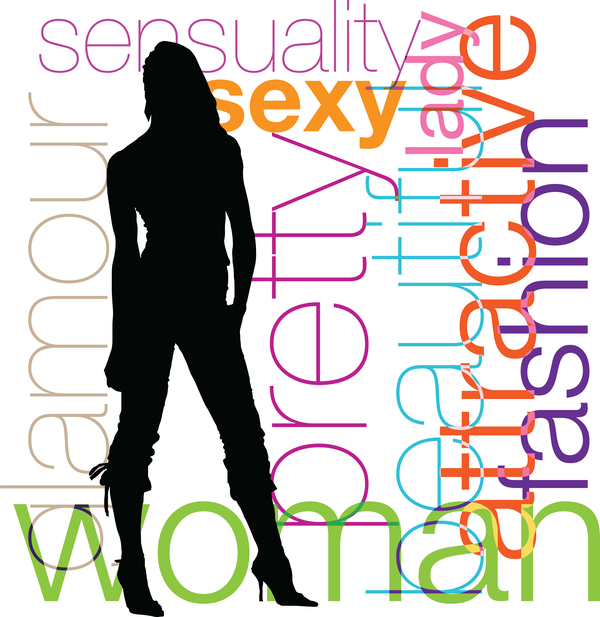 Fashion background with women silhouette vector 01