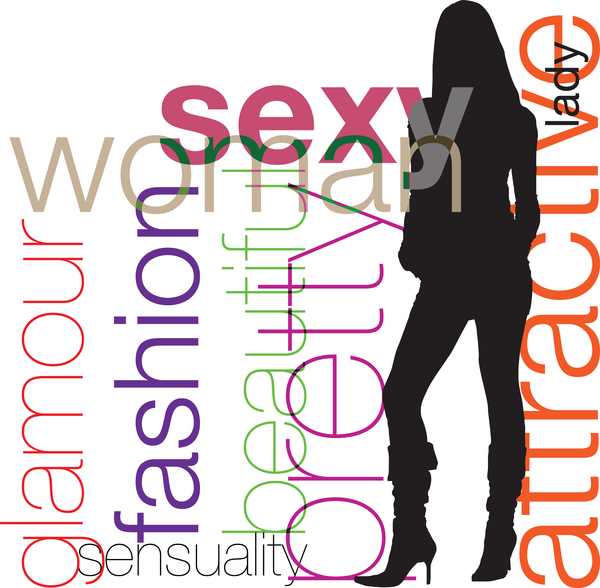 Fashion background with women silhouette vector 02