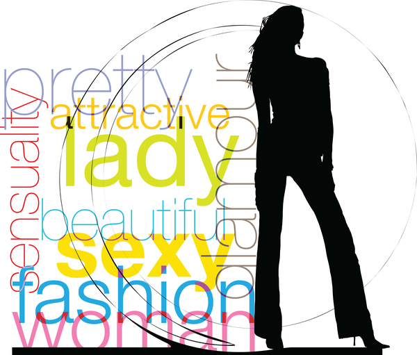 Fashion background with women silhouette vector 03