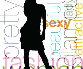 Fashion background with women silhouette vector 04