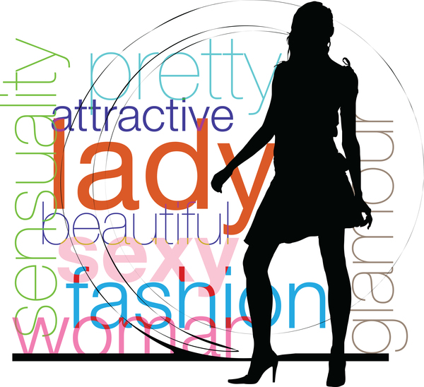 Fashion background with women silhouette vector 05