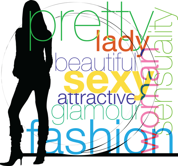 Fashion background with women silhouette vector 06