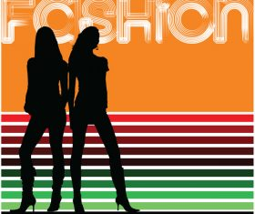Fashion background with women silhouette vector 08
