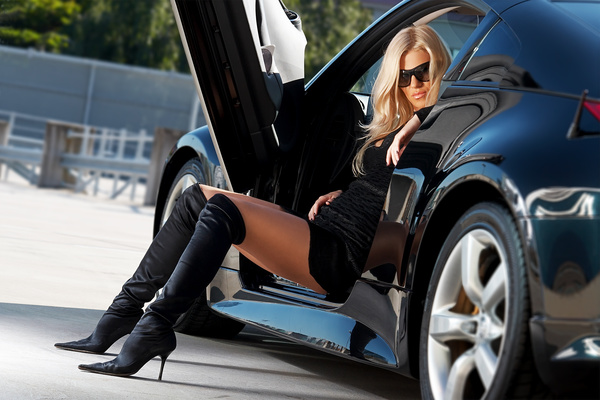 Fashion girl and car Stock Photo 07