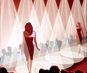 Fashion show with stage and spotlights vector material