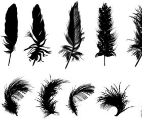Feather silhouette vector set  03