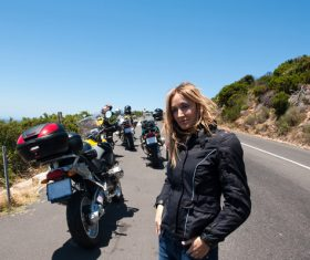 Female motorcyclist Stock Photo
