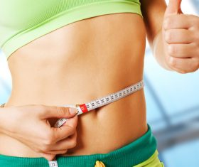 Female waist circumference measurement Stock Photo