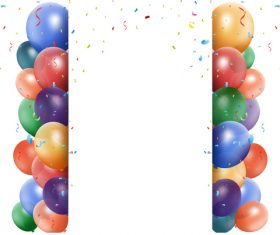 Festival confetti with balloons background vector 02
