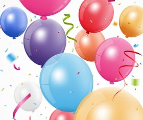 Festival confetti with balloons background vector 03