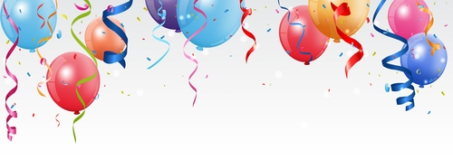 Festival confetti with balloons background vector 05
