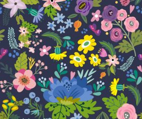 Floral amazing bright pattern vector 01