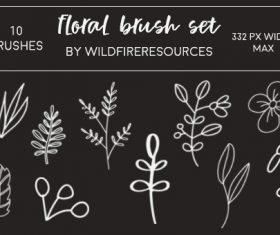 Floral hand drawn photoshop brushes