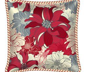 Flower pattern pillow template vector 01