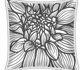Flower pattern pillow template vector 02