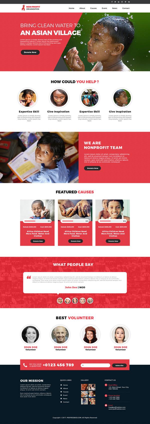 Free Non Profit Organization Website Psd Template