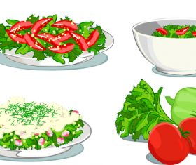 Fresh vegetable with salad vector