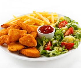 Fried potato cake and French fries salad and ketchup Stock Photo