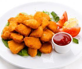 Fried potato cake with tomato sauce Stock Photo