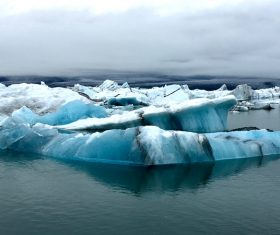Frozen iceberg scenery on sea Stock Photo