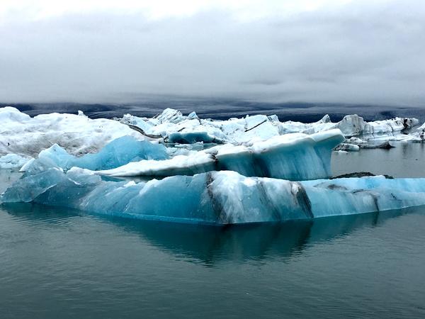 Frozen iceberg scenery on sea Stock Photo