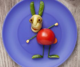 Fruits and vegetables handmade animals Stock Photo 01