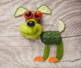 Fruits and vegetables handmade animals Stock Photo 04
