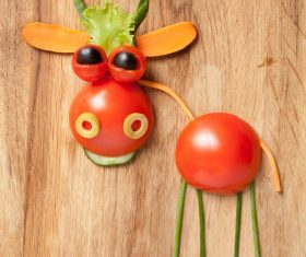 Fruits and vegetables handmade animals Stock Photo 08
