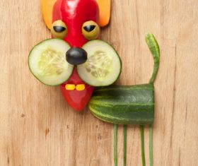 Fruits and vegetables handmade animals Stock Photo 09