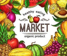 Fruits market background vector