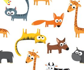 Funny cartoon animal seamless pattern vector
