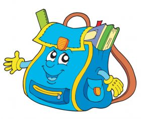 Funny cartoon school bag illustration vector