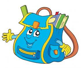 Funny cartoon school bag illustration vector