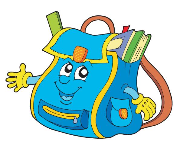 Funny cartoon school bag illustration vector free download - Clipart cartable ...