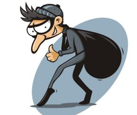 Funny cartoon thief vector material 01
