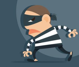 Funny cartoon thief vector material 02