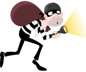 Funny cartoon thief vector material 03
