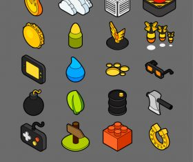Games – isometric outline color icons