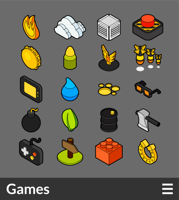 Games   isometric outline color icons