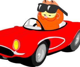 Garfield sitting in the car vector