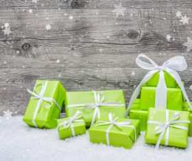 Gift boxes with bow and snowflakes 02