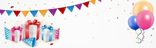 Gift boxs with balloons background vector