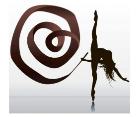 Girl dancing with robbon vector 01