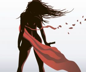 Girl dancing with robbon vector 03