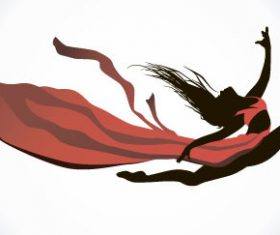 Girl dancing with robbon vector 04