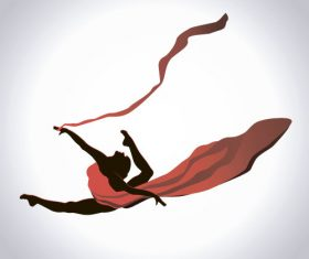 Girl dancing with robbon vector 05